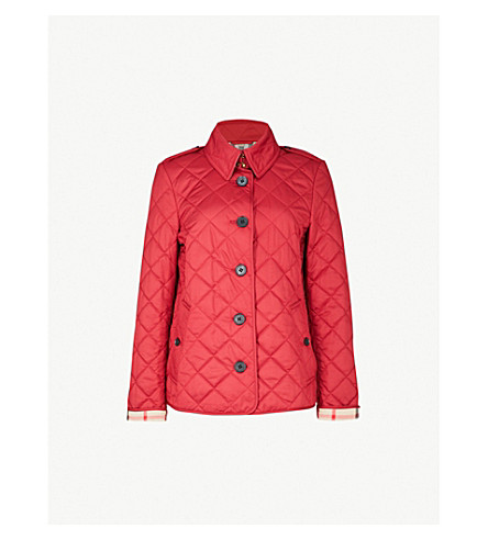 BURBERRY Frankby checked-detail quilted shell jacket (Parade+red