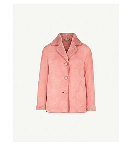 BURBERRY Greetham shearling-lined suede jacket (Copper+pink