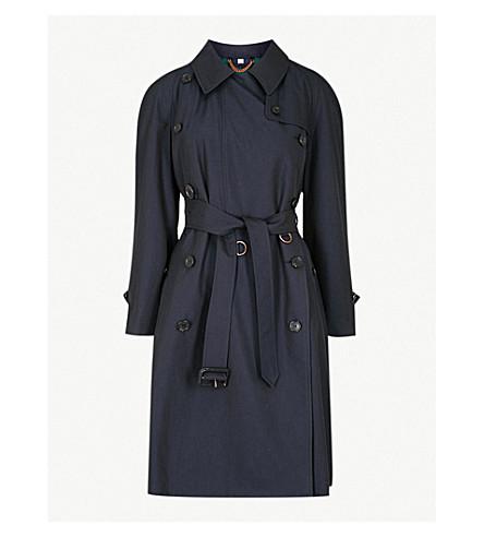BURBERRY Charwood 棉华达呢沟槽大衣 (蓝 + 炭