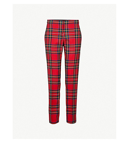 BURBERRY Hanover tapered wool trousers (Bright+red