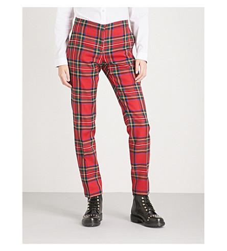 BURBERRY 汉诺威锥形羊毛裤子 (亮 + 红