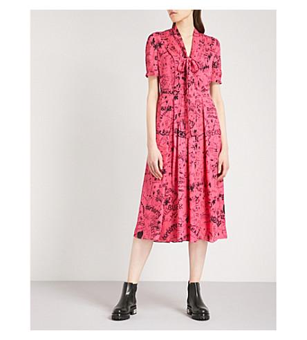 BURBERRY Antonina doodle silk dress (Floro+pink