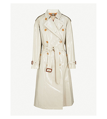 BURBERRY Eastheath laminated trench coat (Stone