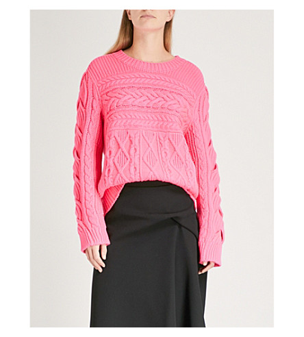 BURBERRY Tolman Aran-knit wool and cashmere-blend jumper (Bright+rose+pink
