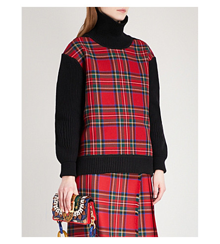 BURBERRY Moselle turtleneck wool and cashmere-blend jumper (Black+red