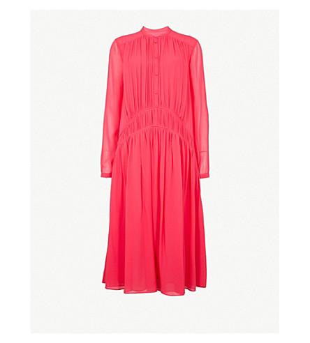 BURBERRY Kara silk-chiffon midi dress (Neon+pink