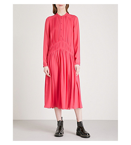 BURBERRY Kara silk-chiffon midi dress (Neon+pink