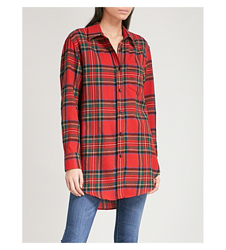 BURBERRY Strenton brushed-wool shirt (Bright+red