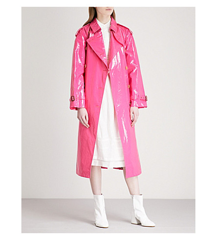 BURBERRY Eastheath patent-cotton trench coat (Neon+pink