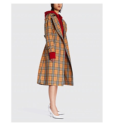 Checked cotton-twill trench coat(4071377)