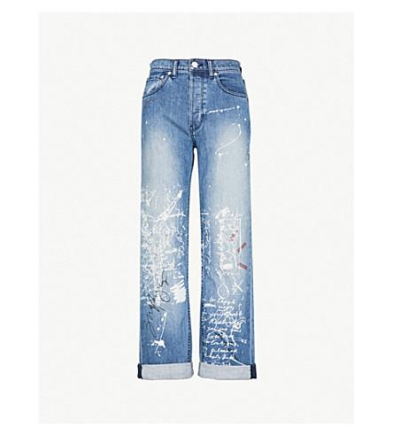 BURBERRY Graffiti straight high-rise jeans (True indigo melange