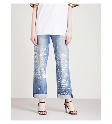 BURBERRY Graffiti straight high-rise jeans (True+indigo+melange