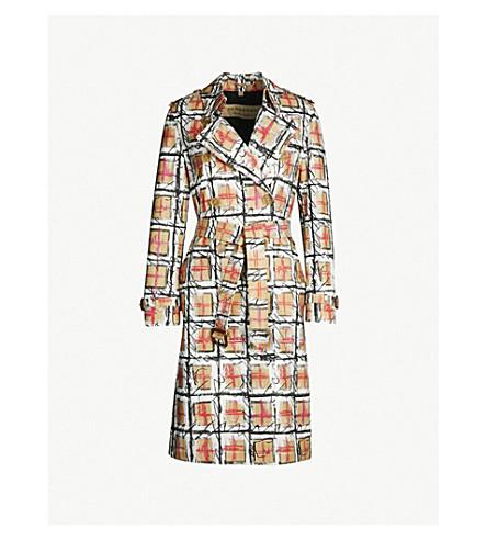 BURBERRY Scribble checked cotton-gabardine trench coat (White