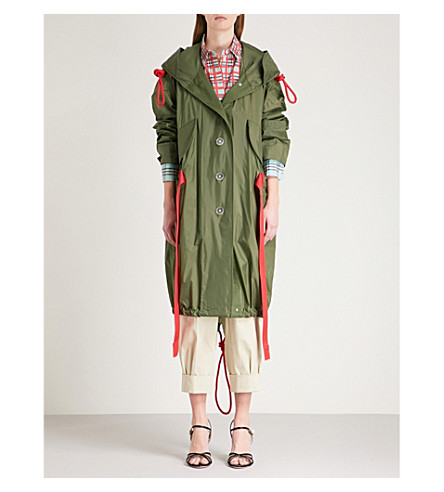 BURBERRY Tie-detail hooded shell parka coat (Light+olive