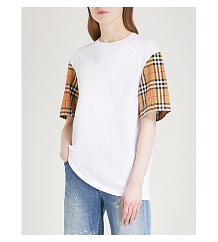 BURBERRY Checked-sleeve cotton-jersey T-shirt (White