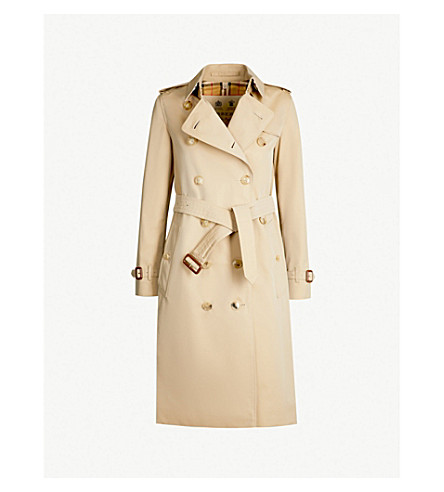 BURBERRY The Kensington Heritage check-lined cotton-gabardine trench coat (Honey