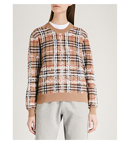 BURBERRY Scribble-checked wool jumper (Camel/white