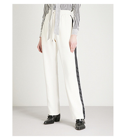 BURBERRY Side stripe silk and wool-blend jogging bottoms (Off+white