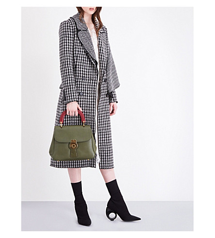 BURBERRY Ruffle-overlay wool coat (Black