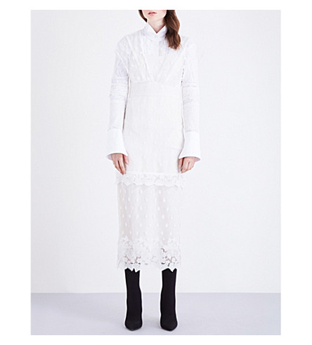 BURBERRY Embroidered tulle dress (Off+white