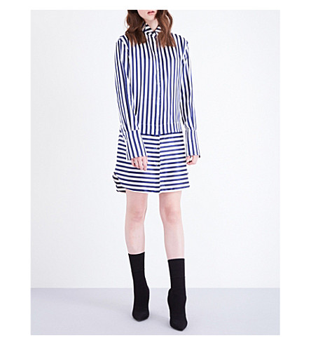 BURBERRY Striped silk and cotton-blend shirt dress (Indigo