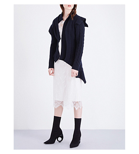 BURBERRY Asymmetric wool and cashmere-blend cardigan (Navy