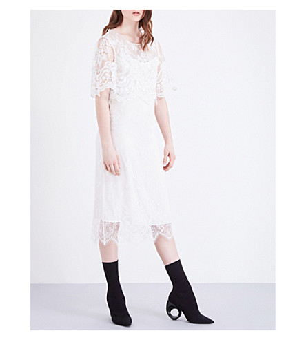 BURBERRY Flared-sleeve lace dress (White