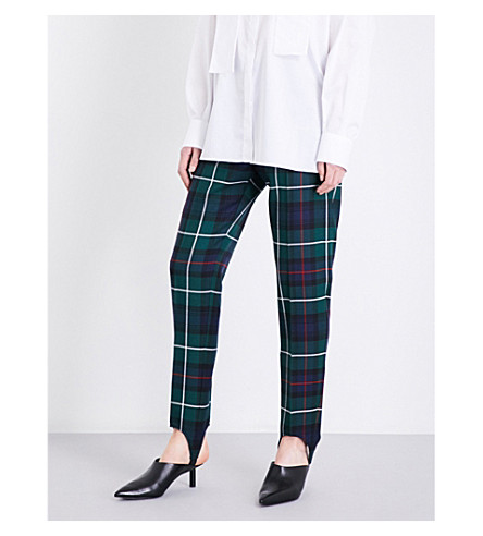 BURBERRY Tapered wool-tartan stirrup trousers (Forest+green