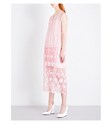 BURBERRY Floral-embroidered tulle midi dress (Rose+pink/white