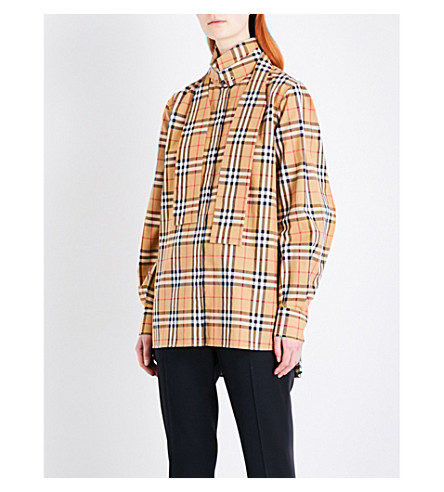 BURBERRY Vintage check cotton-poplin shirt (Antique+yellow