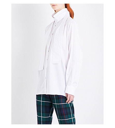 BURBERRY Herringbone cotton-poplin shirt (White
