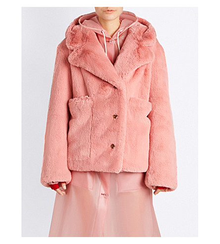 BURBERRY Hooded faux-fur coat (Pale+pink