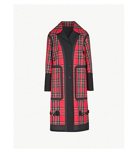 BURBERRY Bonded tartan oversized cotton coat (Black