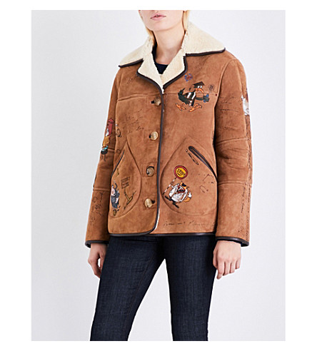 BURBERRY Sketch shearling jacket (Caramel