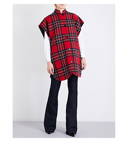 BURBERRY Tartan wool and cashmere-blend poncho (Bright+red/dark+grey