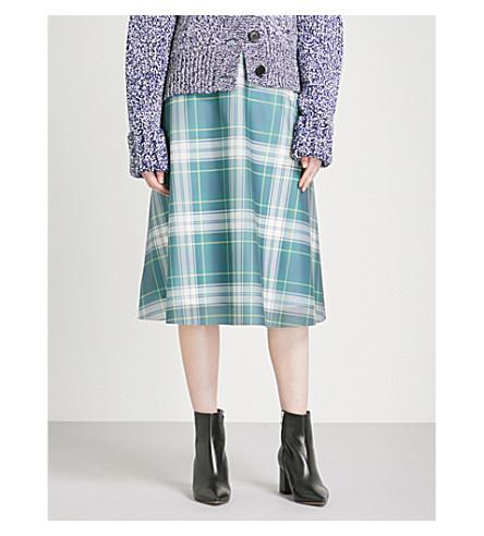 BURBERRY Tartan-panel high-rise PVC skirt (Navy