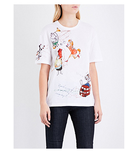 BURBERRY Sketch cotton-jersey T-shirt (White