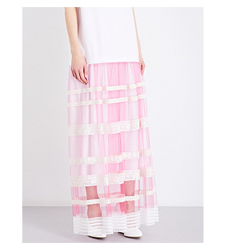 BURBERRY Floral lace-trim tulle maxi skirt (Bright+pink