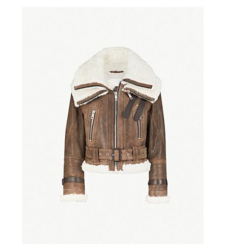 BURBERRY Aviator leather jacket (Chocolate