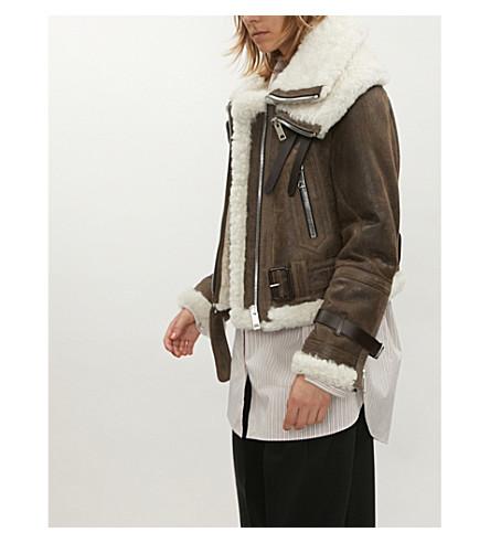 Aviator leather jacket(4547387)