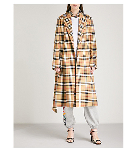 Checked wool trench coat(4548009)