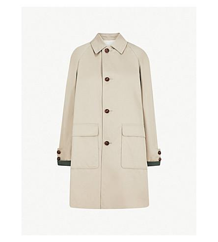 BURBERRY Single-breasted gabardine coat (Khaki