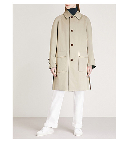BURBERRY Single-breasted gabardine coat (Khaki