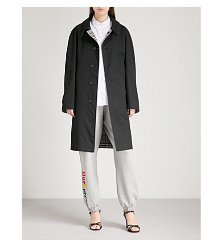 BURBERRY Reversible gabardine trench coat (Black