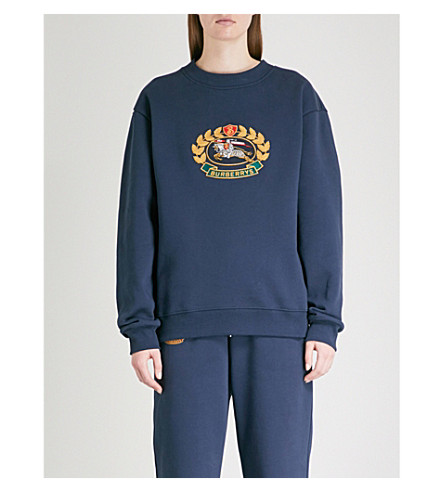 BURBERRY Logo-embroidered cotton-blend sweatshirt (Dark+blue