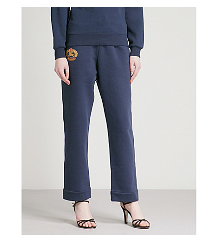 BURBERRY Burberrys brand-embroidered cotton-blend jogging bottoms (Dark+blue