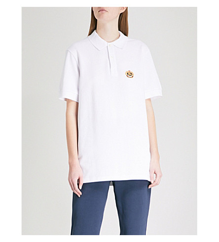 BURBERRY Burberrys brand-embroidered cotton polo shirt (White