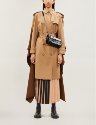 Brand-print slim-fit cotton and cashmere-blend trench coat