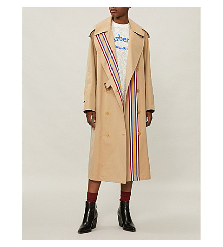 Striped cotton trench coat(8001880)