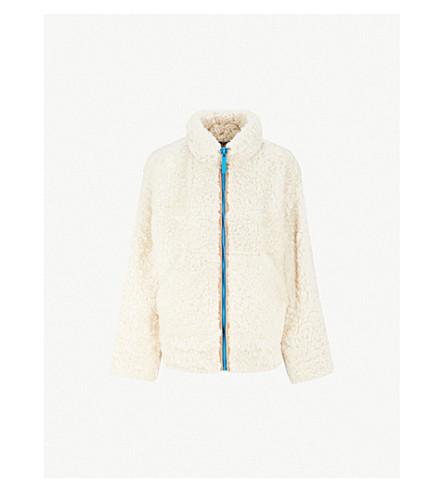 BURBERRY 对比拉链羊毛夹克 (自然 + 白色
